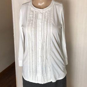 Ann Taylor Loft Cotton Knit Tuxedo Blouse Size SP